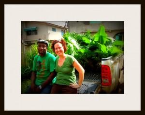 grönt par i ram